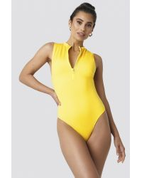NA-KD Front Zip Sporty Swimsuit Yellow
