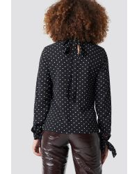 Rut&Circle Dotty Sleeve Knot Blouse in het Black