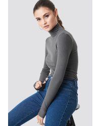 NA-KD Gray Julia Wieniawa x Long Sleeve Polo Top
