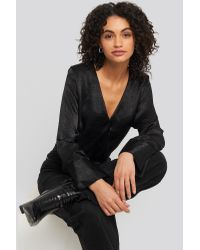 NA-KD Black Wrap Satin Blouse