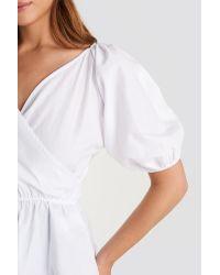 NA-KD White Trend V Neck Wrap Over Elastic Waist Blouse