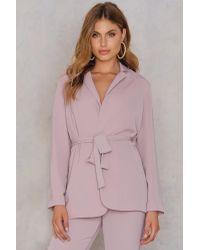 NA-KD Purple Hannalicious x Belted Blazer