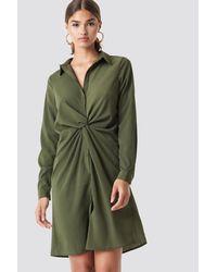 NA-KD Green Twist Detail Shirt Dress