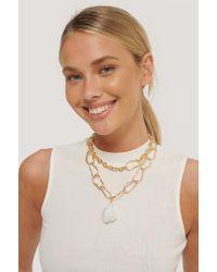 NA-KD Metallic Accessories Oversize Perle Look Kette Halskette