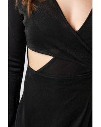 NA-KD Black Hannalicious x Glittery Long Sleeve Asymmetric Dress
