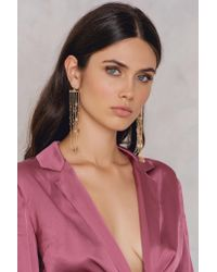 NA-KD - Metallic Hanging Colored Rhinestone Earrings Gold - Lyst