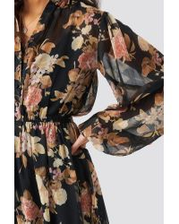 NA-KD Black Boho Elastic Waist Chiffon Midi Dress