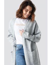 NA-KD Plain Knitted Midi Cardigan in het Gray