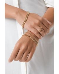 NA-KD - Metallic Ring And Bracelets Chain Set Gold - Lyst