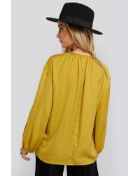 NA-KD Yellow Round Neck Peasant Blouse