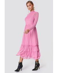 NA-KD Pink Boho Mesh Frill Dress