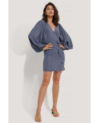 NA-KD Blue Trend Puff Sleeve Tie Waist Dress