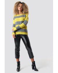 Trendyol Yellow Block Stripe Wide Neck Sweater