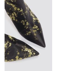 NA-KD - Jacquard Flower Satin Boots Black Flower Print - Lyst