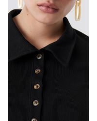 NA-KD Black Button Up Ribbed Top