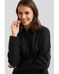 NA-KD Oversized Concealed Button Shirt in het Black