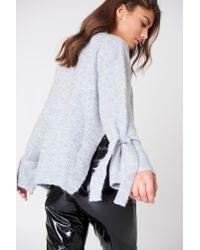 Trendyol Gray Tie Sleeve Sweater Grey