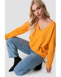 NA-KD V-neck Basic Sweater Orange