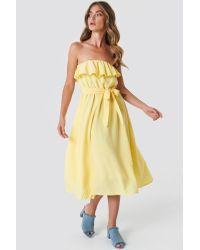 NA-KD Flounce Midi Dress Yellow