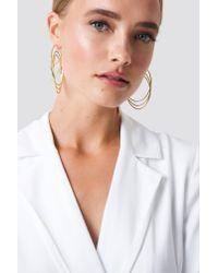 NA-KD Metallic Combined Triple Hoop Earrings