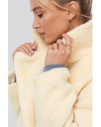 NA-KD Natural Big Collar Teddy Coat