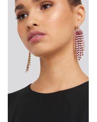 NA-KD Pink Rhinestone Drop Earrings