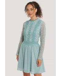 NA-KD Blue Boho Lace Anglaise LS Mini Dress