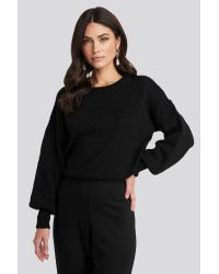NA-KD Bubble Stitch Balloon Sleeve Knitted Sweater in het Black
