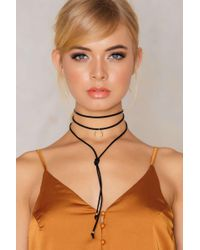 NA-KD | Black Suede Necklace With Crescent Pendant | Lyst