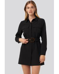 NA-KD Black Trend Belted Straight Fit Shirt Dress