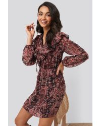 Trendyol Multi Colored Frilly Mini Dress in het Multicolor