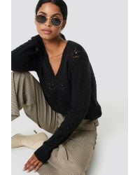 NA-KD V-neck Knitwear Sweater in het Black