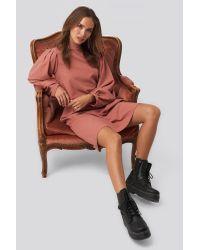 NA-KD Multicolor Trend High Neck Long Sleeve Shift Dress