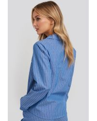 NA-KD Chambray Cotton Night Shirt in het Blue