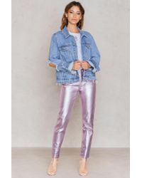 NA-KD - Pink Metallic Denim Pants - Lyst