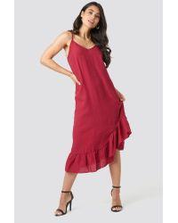 NA-KD Bottom Flounce Strap Dress Red