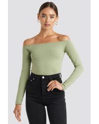 NA-KD Green Basic Long Sleeve Off Shoulder Top