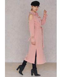 Sheln Pink Open Shoulder Trenchcoat