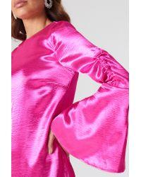 NA-KD Metallic Gathered Sleeve Mini Dress Pink