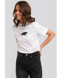 NA-KD White Panther Wide Rib Basic Tee