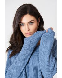 NA-KD Cropped Knitted Sweater Blue