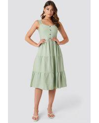 Trendyol Green Yol Buttoned Midi Dress