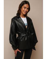NA-KD Black Donnaromina x Faux Leather Oversized Blazer