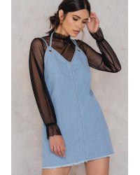 NA-KD Blue Deep Back Denim Dress