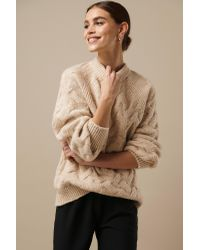 NA-KD Chunky Cable Knitted Sweater in het Natural