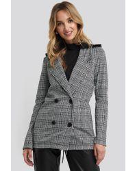Trendyol Gray Plaid Blazer Grey