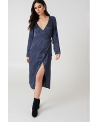 NA-KD - Blue Wrapped Jacquard Satin Dress - Lyst