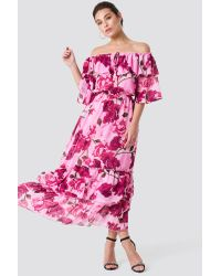 NA-KD Pink Boho Off Shoulder Flounce Maxi Dress