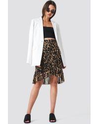 Mesh Overlap Mini Skirt NA-KD en coloris Brown