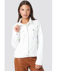 NA-KD White Regular Fit Denim Jacket